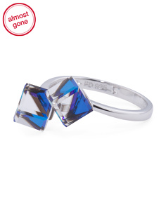 Sterling Silver Swarovski Crystal Cube Bypass Ring