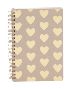 Kraft And Gold Hearts Spiral Notebook