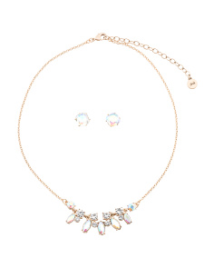 Set Of Crystal Statement Necklace And Matching Earrings