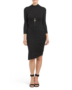 Juniors Mock Neck Ruched Side Dress