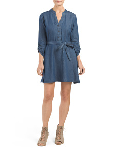 Juniors Denim Shirt Dress