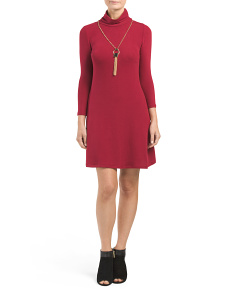 Juniors Brushed Knit Necklace Dress
