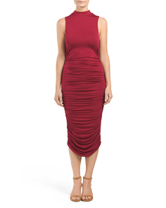 Juniors Mock Neck Ruched Dress