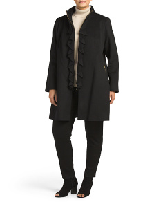 Plus Kendra Wool Blend Ruffle Coat