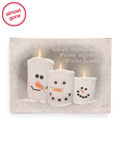 12x16 LED Snow Candle Wall Art