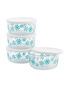 4pk Simply Snowflakes Storage Dishes