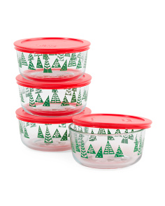 4pk Simply Xmas Trees Storage Dishes