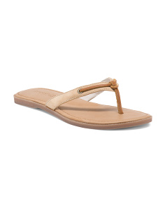 Calla Thong Flat Leather Sandals