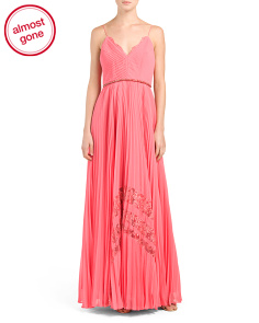 Pleated Inset Lace Gown