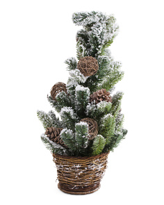 30in Faux Flocked Pine Tree