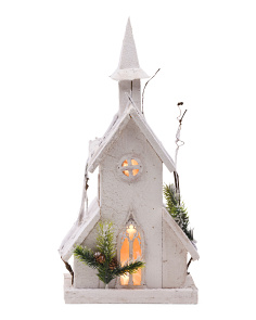 LED Pre Lit Wooden Church