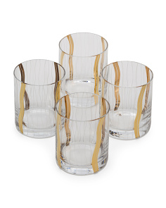 4pk Seabreeze Metallic Double Old Fashion Glasses