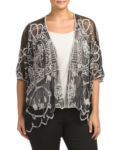 Plus Embroidered Mesh Cardigan