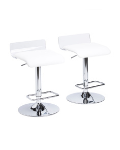 Set Of 2 Acrylic And Faux Leather Bar Stools