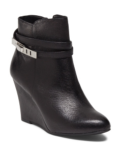 Wedge Ankle Leather Booties