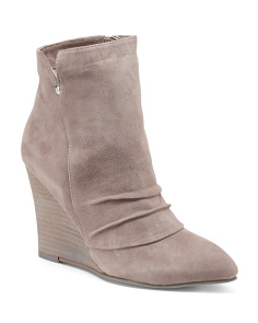Pointed Toe Suede Wedge Booties