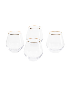 4pk Michel Stemless Wine Glasses