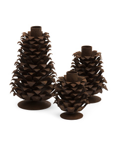 Set Of 3 Pinecone Candle Holders