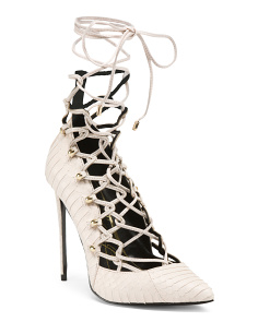 Pistol Lace Up Snakeskin Pumps