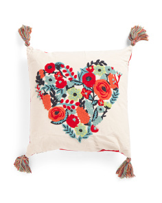 20x20 Embroidered Heart Pillow With Tassels