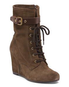 Made In Italy Wedge Suede Booties
