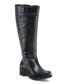 Waterproof Wide Calf Leather Riding Boots