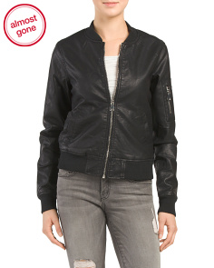 Juniors Faux Leather Sherpa Lined Bomber