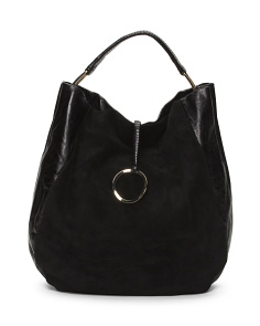Leather And Suede Large Hobo