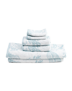6pc Seashell Coral Towel Set