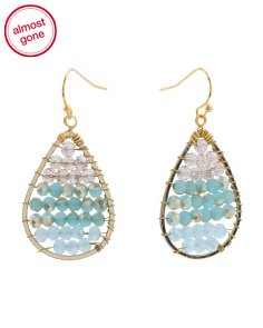 Made In Thailand Amazonite Czech Crystal Drop Earrings