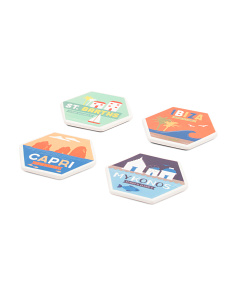 Set Of 4 Ceramic Travel Coasters