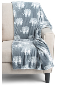 Woodblock Elephant Throw