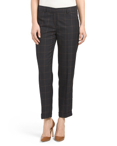 Plaid Slim Ankle Pants