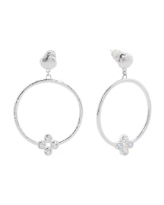 Made In Turkey Sterling Silver White Sapphire Circle Earrings