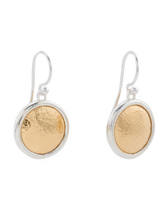 Made In Turkey Sterling Silver Vermeil Round Amulet Earrings