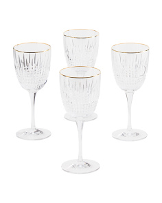 4pk Lismore Diamond Gold Goblets
