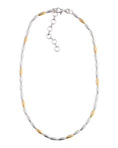 Made In Turkey Sterling Silver And Vermeil Wheat Necklace