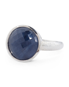 Made In Turkey Sterling Silver Round Sapphire Amulet Ring
