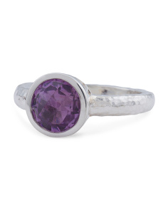 Made In Turkey Sterling Silver Round Amethyst Amulet Ring