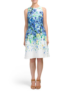 Floral Twill Fit & Flare Dress