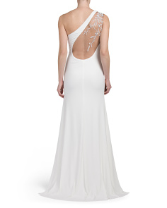 One Shoulder Beaded Illusion Gown