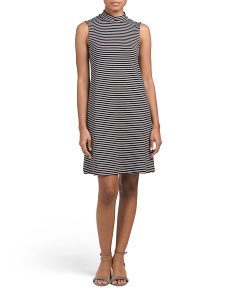 Sleeveless Stripe Trapeze Dress