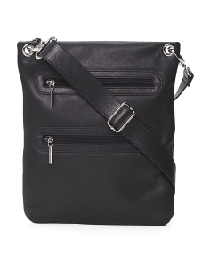 Large Double Zip Leather Crossbody