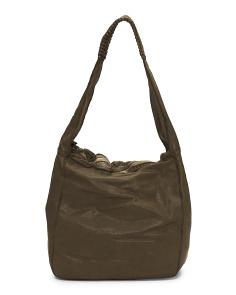 Made In Italy Perforated Circles Leather Hobo