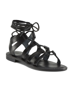 Made In Italy Strappy Lace Up Leather Sandals