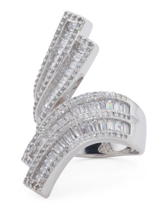 Sterling Silver Baguette Cubic Zirconia Bypass Ring