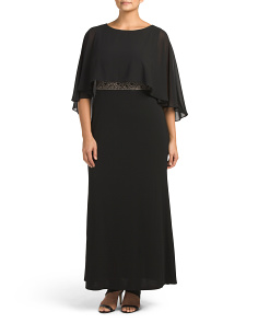 Plus Caplet Gown With Beads