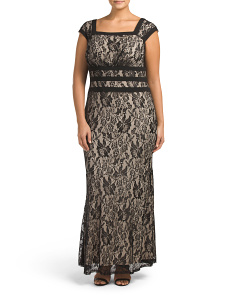 Plus Cap Sleeve Lace Gown