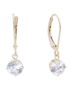 Made In USA 14k Gold Round Cubic Zirconia Drop Earrings