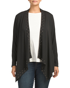 Plus Grommet Trim Open Cardigan